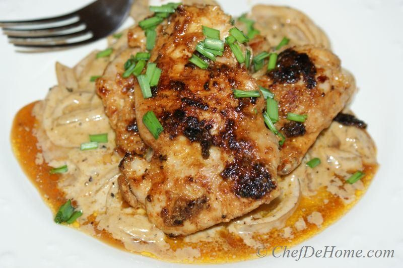 Chicken with Caramelized Onion Cream Sauce