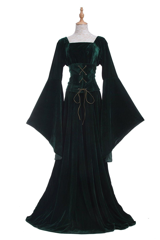 42dc328306 Women s Medieval Lush Dark Green Velvet 2-Pc Lace Up Trumpet Sleeve Gown