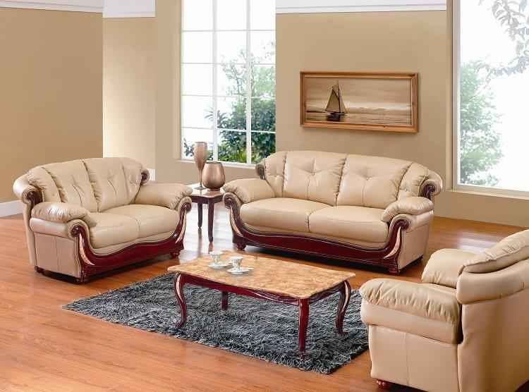 Honey Leather With Wood Living Room Set 7991 Honey Living Room