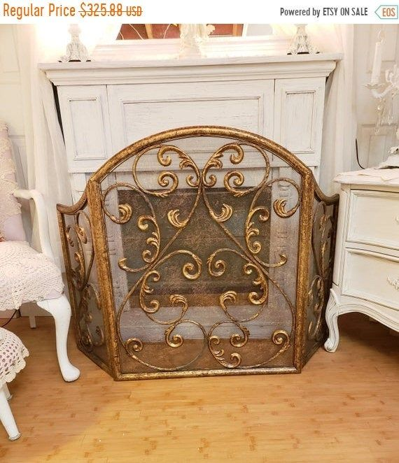 WINTER SALE Fireplace Screen Wrought Iron Scrolly French ...