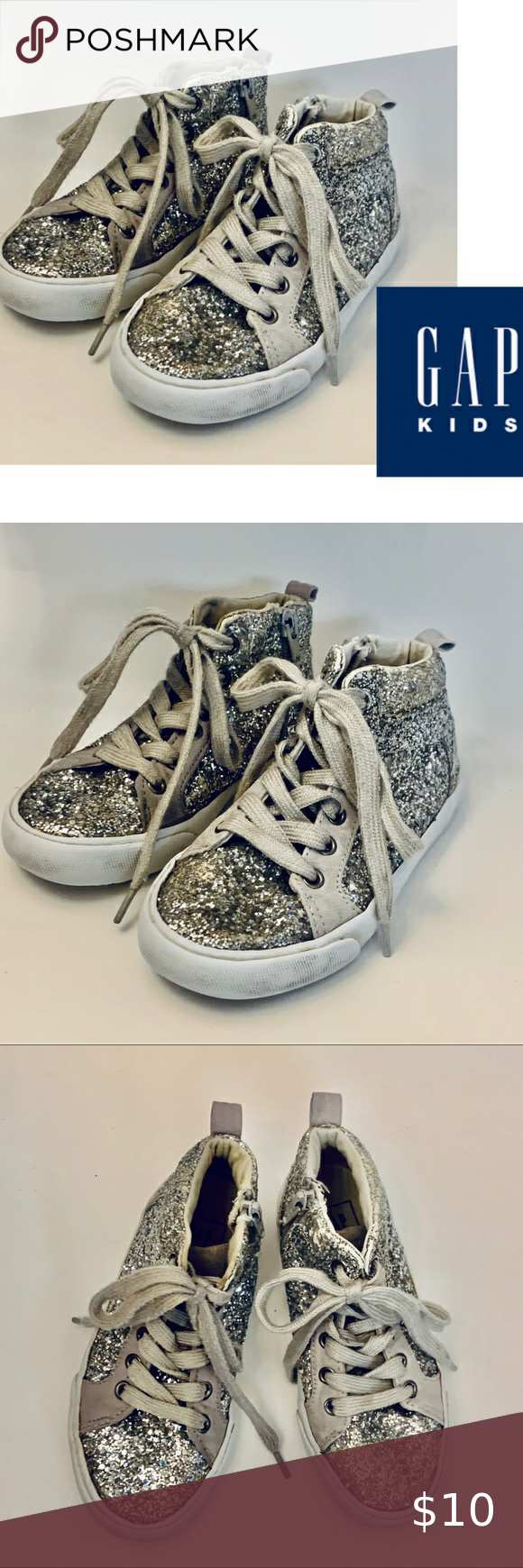 Big Girl GAP kids High top Shoes Sz 12 silver Big Girl GAP kids High top Shoes Sz 12  Color: silver Side zip for easy slip on Condition: Good with noticeable wear- see pictures  Bin A4 #0023 GAP Shoes Sneakers