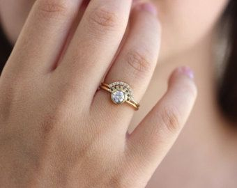 Wedding Ring Set Pearl Wedding Ring Seed Pearl Ring Dainty