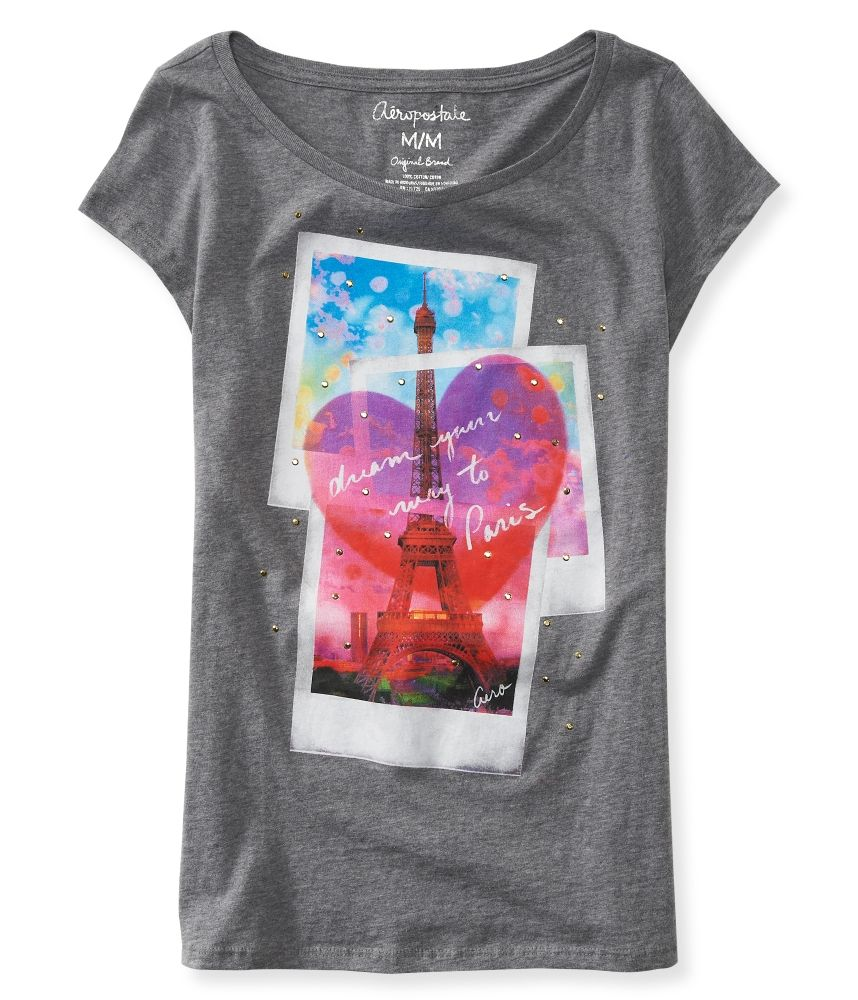 Aeropostale Dream Your Way To #Paris Eiffel Tower Graphic T $8 - This is just really adorable. An accessible way for a younger girl to wear #studs, too.