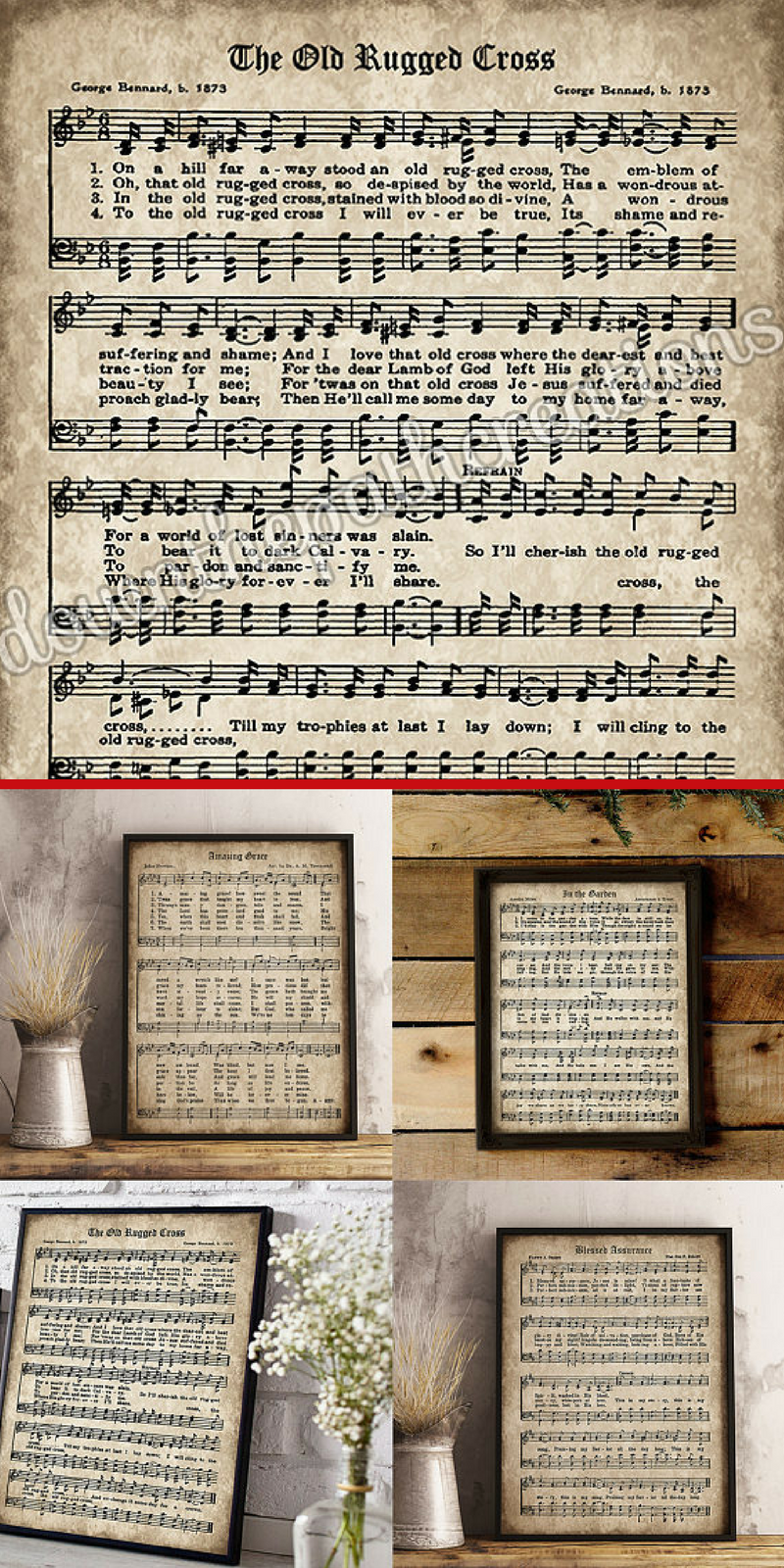 Love the idea of using printable vintage old hymns for farmhouse