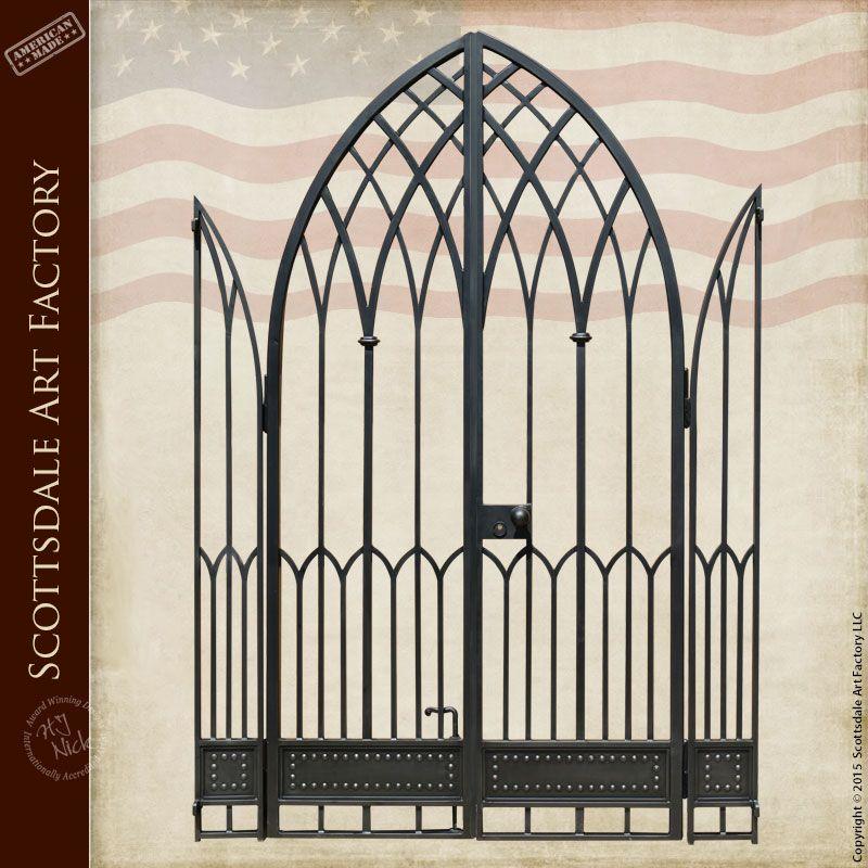 Gothic Style Iron Gate Custom Hand Forged Wrought Iron Gates