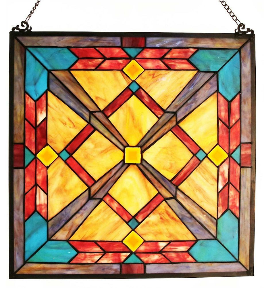 Southwest Sunset Stained Glass Window Panel | 18 inches
