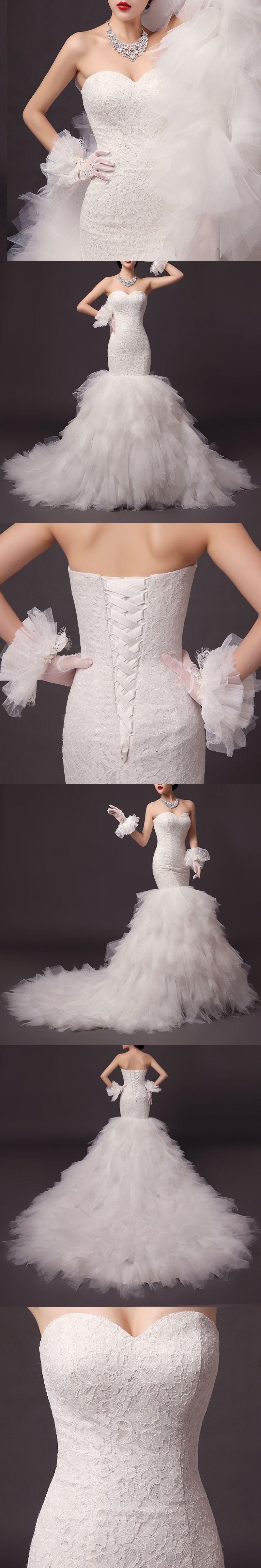 Lace mermaid wedding gowns with long trains  Lace Mermaid Wedding Dress Sweetheart Draped Long Train Vintage