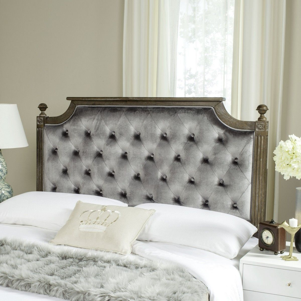 Rustic Wood Grey Tufted Velvet Headboard Headboards Furniture By Safavieh Tufted Upholstered Headboard Rustic Wood Headboard Upholstered Panels