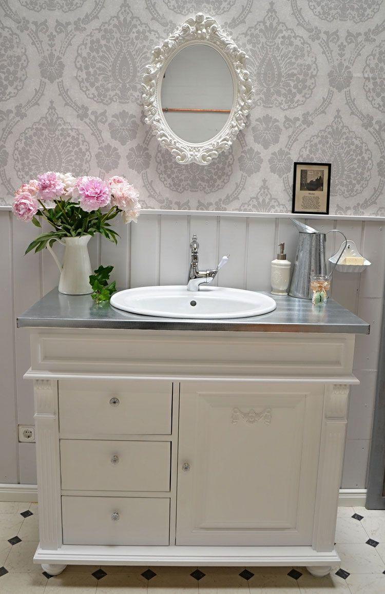 verkauft sion landhaus waschtisch mit zinkplatte von badm bel landhaus land und liebe bad. Black Bedroom Furniture Sets. Home Design Ideas