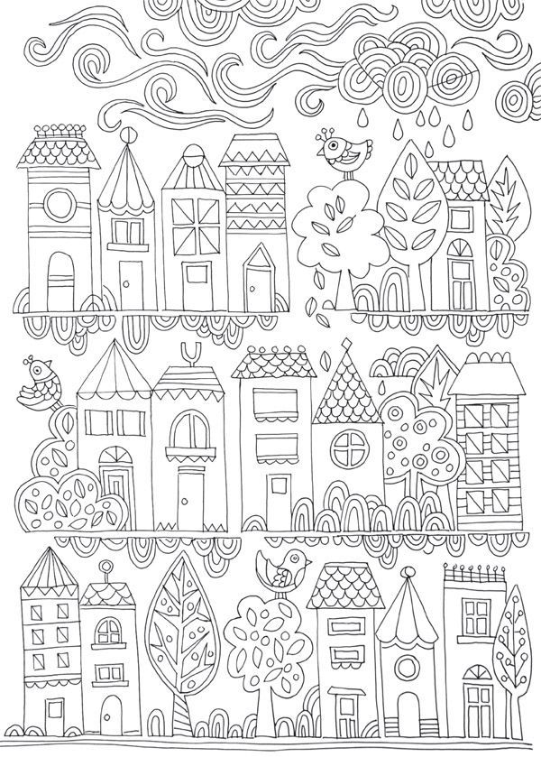 FREE COLOURING POSTER: Tiny Town | Adult coloring, Lisa and Cards
