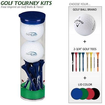 For the Golf Lovers! Promotional Golf Gift Tube: 2 Golf Balls, 12 Golf Tees | Customized Golf Gift Kits