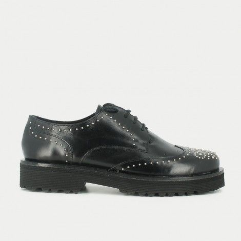 Black leather derbies with ornate toe | JONAK PARIS - $138.76