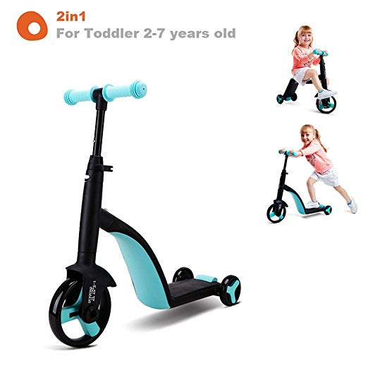 Amazon Com Kid1st 2in1 Kick Scooter Balance Bike Ride On Toys For