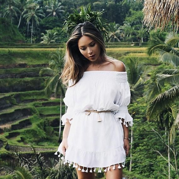 Mimi Tassel Dress - Boho Dress - White Cotton Tassel - Off Shoulder ...