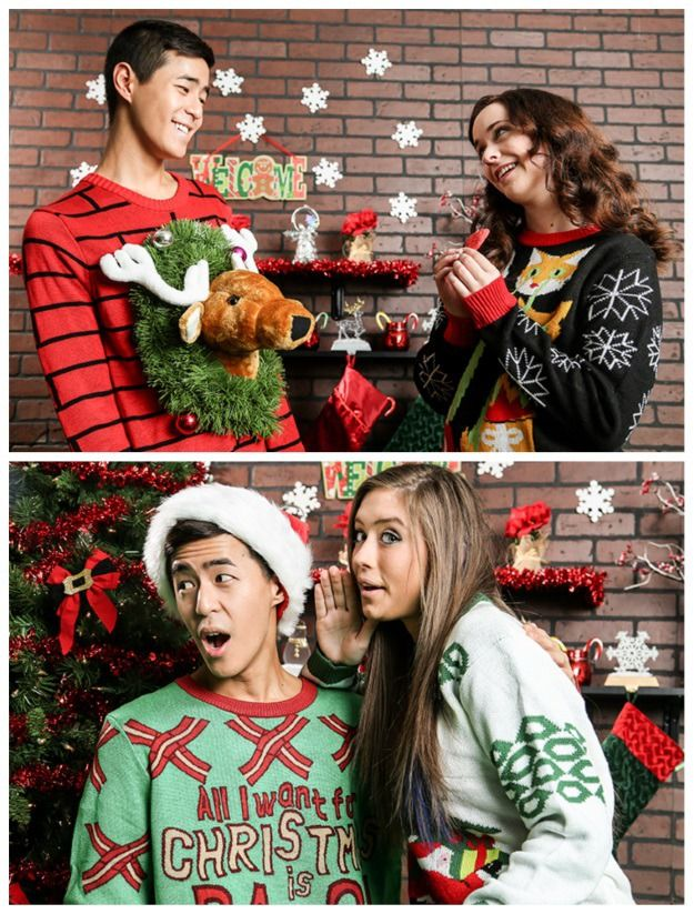 Christmas Jumper Party Ideas Part - 38: Couples Outfit Ideas For Your Ugly Christmas Sweater Party!