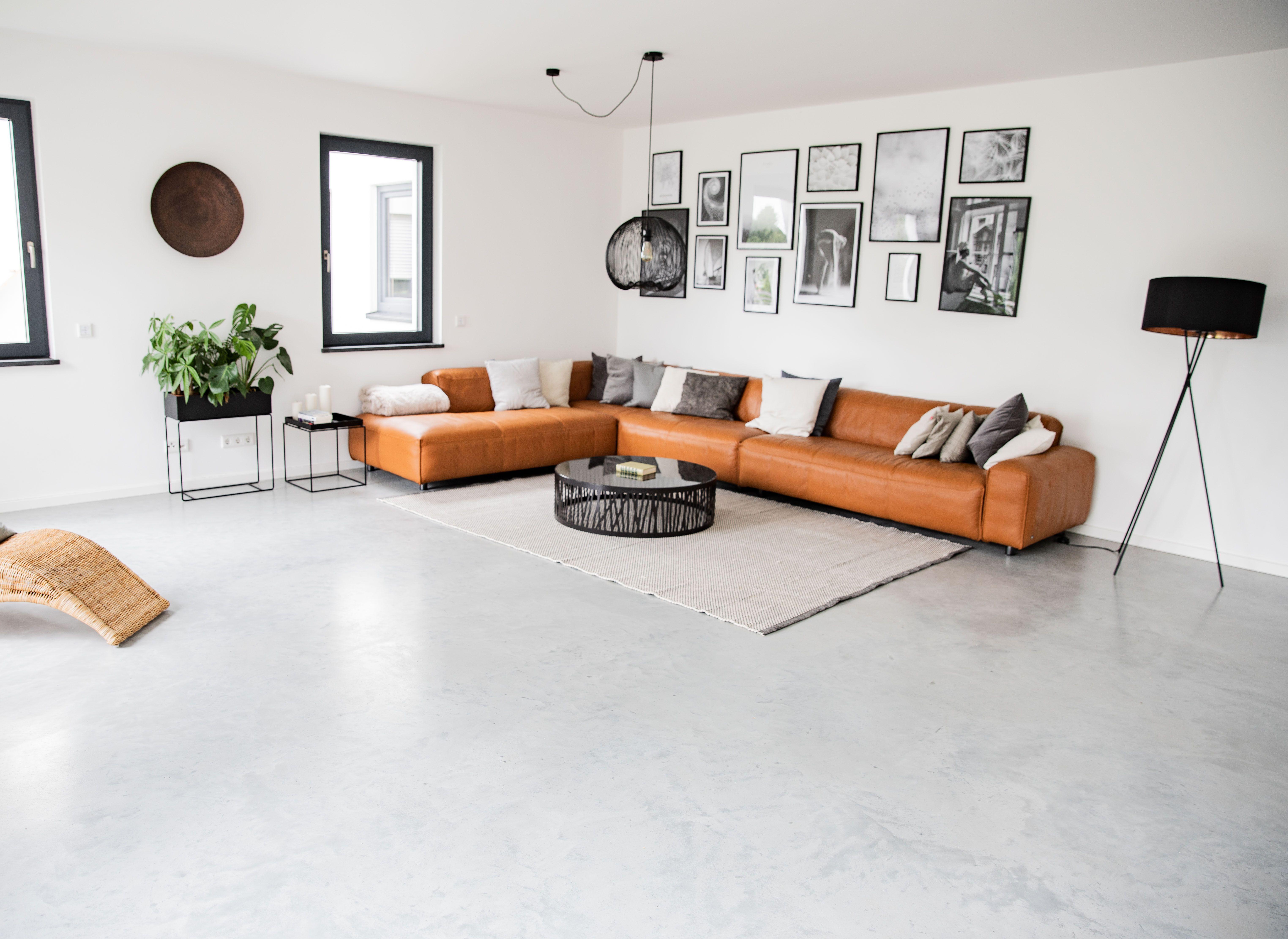 Wohnzimmer Sichtestrich Designboden Betonboden Klassisch