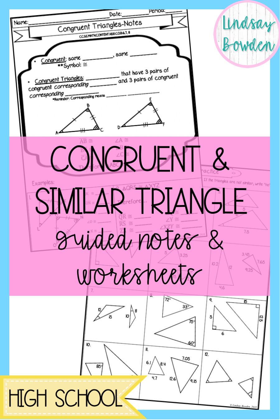 Congruent Triangles and Similar Triangles lesson with guided notes and  worksheets for high school ge…   High school geometry notes [ 1350 x 900 Pixel ]