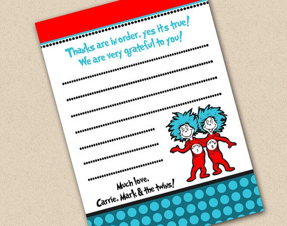 Dr Printable Seuss Baby Shower Invitations And Thing 2 Thank You - fresh birthday invitation sample card