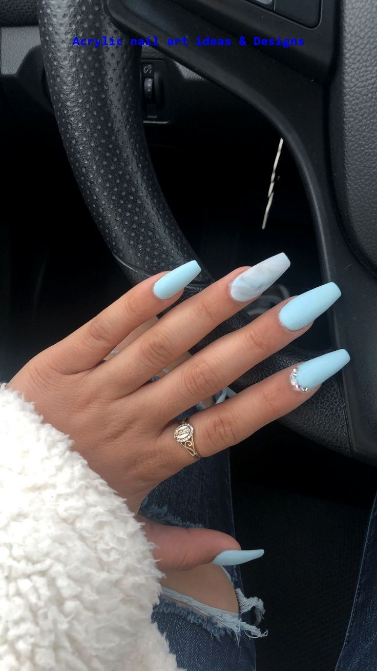 20 Great Ideas How To Make Acrylic Nails By Yourself 1 In 2020 Blue Acrylic Nails Winter Nails Acrylic Baby Blue Nails