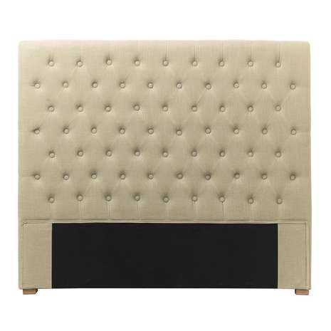 Designed with button back detailing in a diamond pattern, this fully assembled headboard is upholstered in a linen and cotton blend…