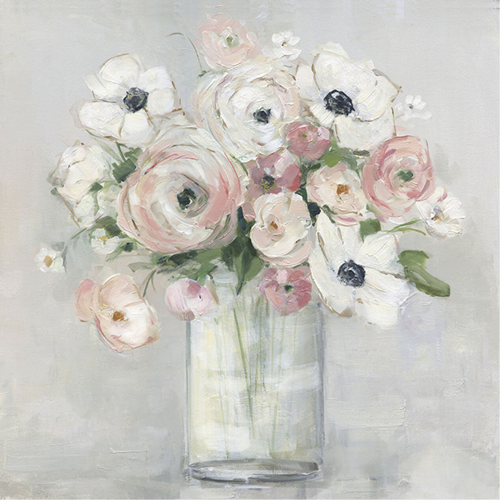 White And Pink Anemone Flowers In Jar Vase Textured Art On Canvas 35 X 35 In 2020 Flowers In Jars Flower Painting Anemone Flower