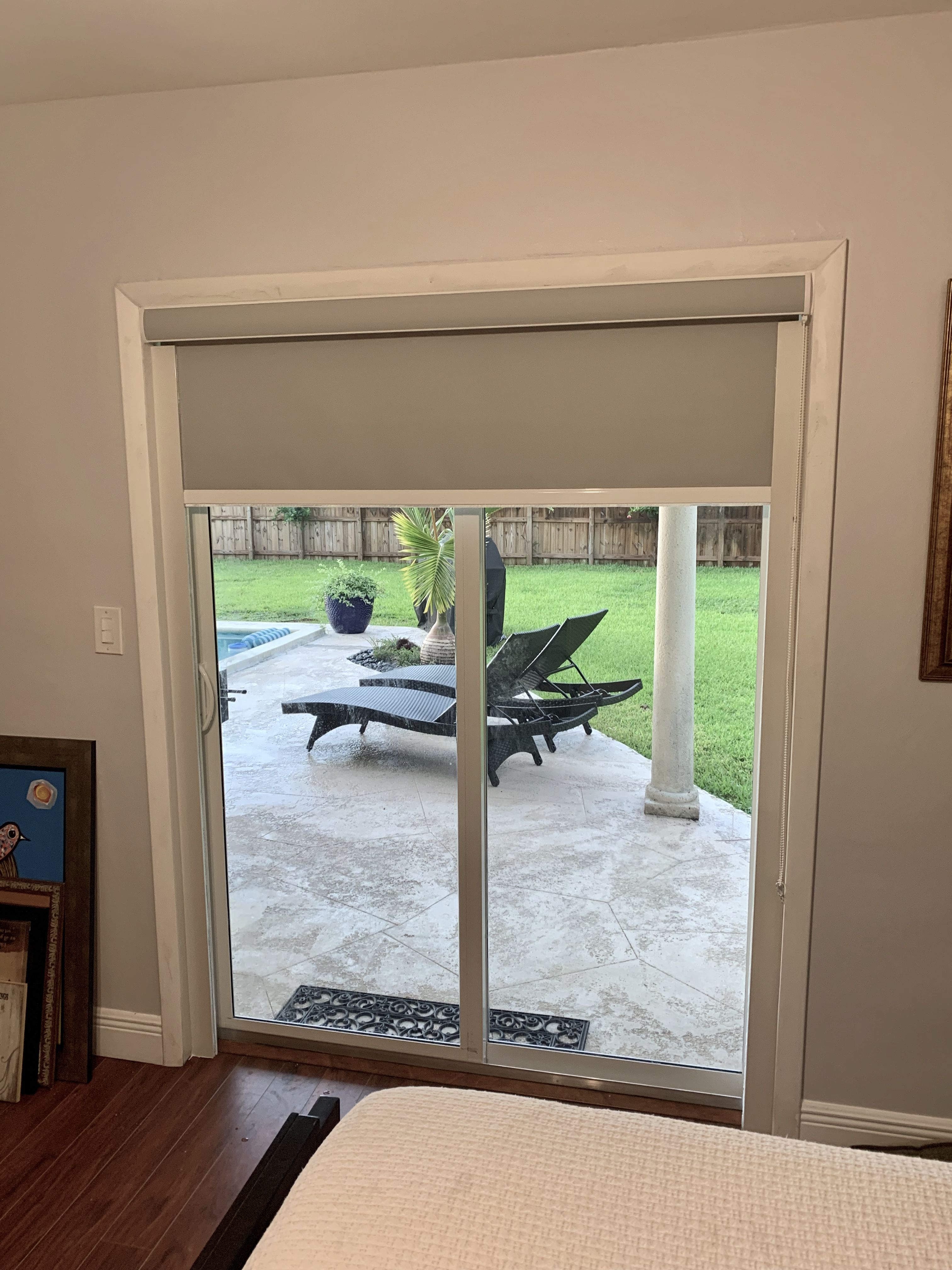 Sliding Panel Track Blinds: Double Sliding Door With Grey Blackout Shades With