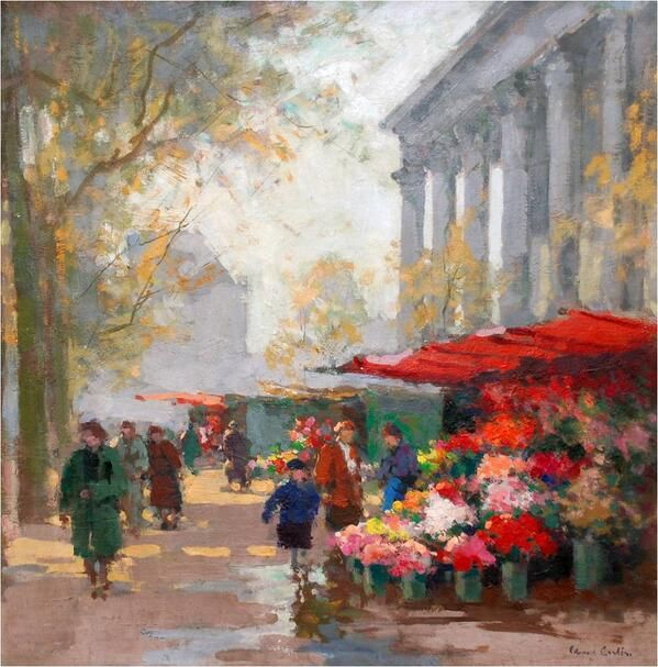 Edouard Leon Cortes「FLOWER MARKET AT LA MADELEINE」