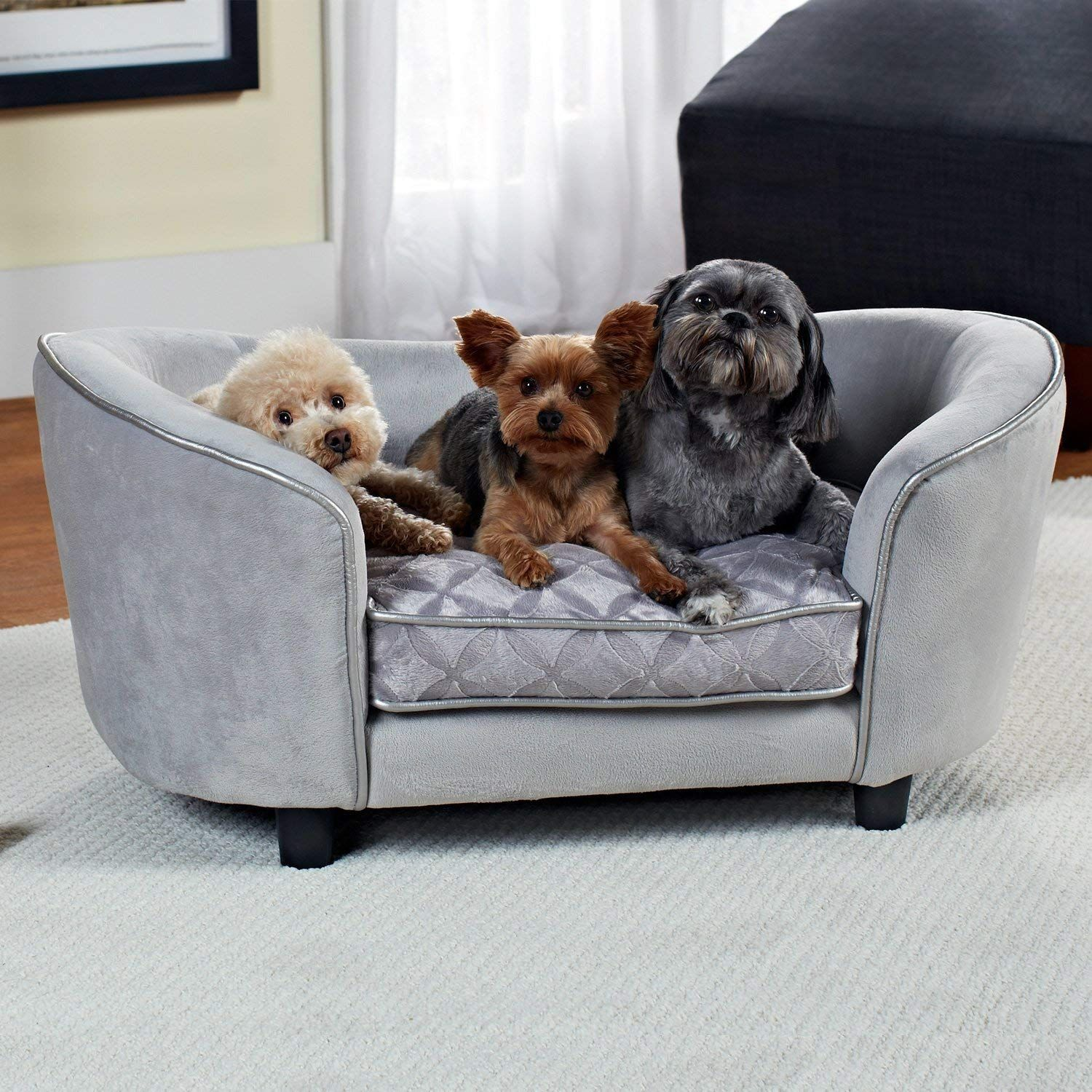 Enchanted Home Pet Quicksilver Sofa Dog Bed In Gray Hope That You Like The Picture This Is An Affiliate Link Dogbedsandf Pet Sofa Dog Sofa Bed Dog Sofa