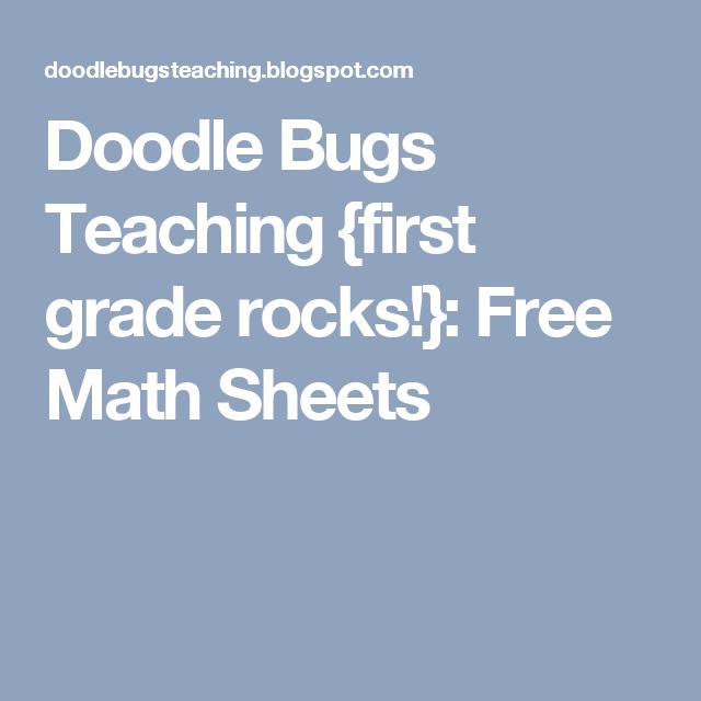 Doodle Bugs Teaching {first grade rocks!}: Free Math Sheets | Money ...