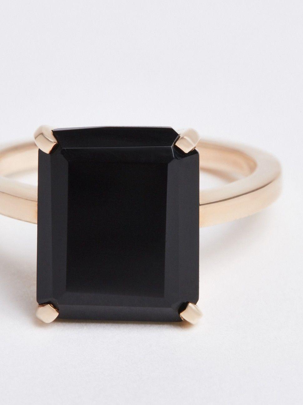 emeral cut onyx ring