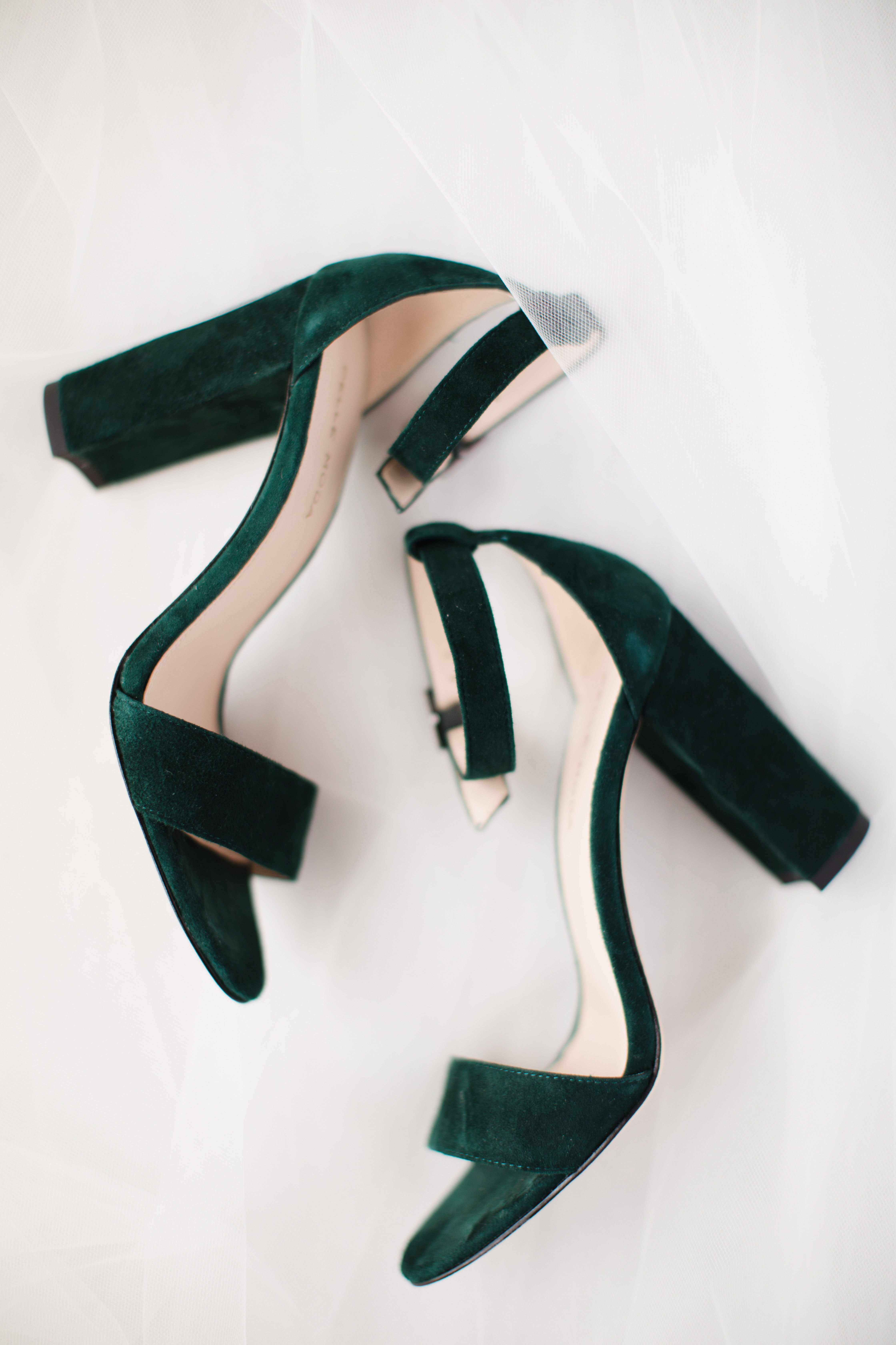 Emerald Green block wedding heels