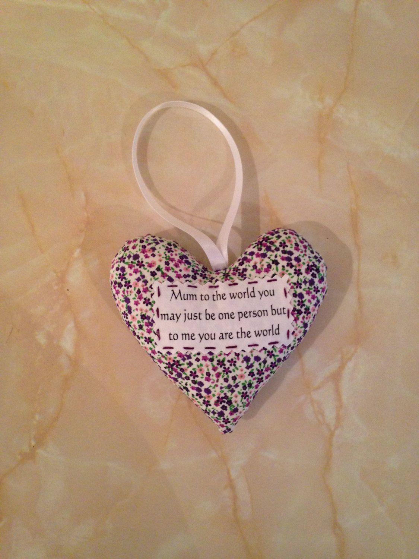 Mum heart, Mum gift, padded heart, by AndiesAccessoriesUK on Etsy