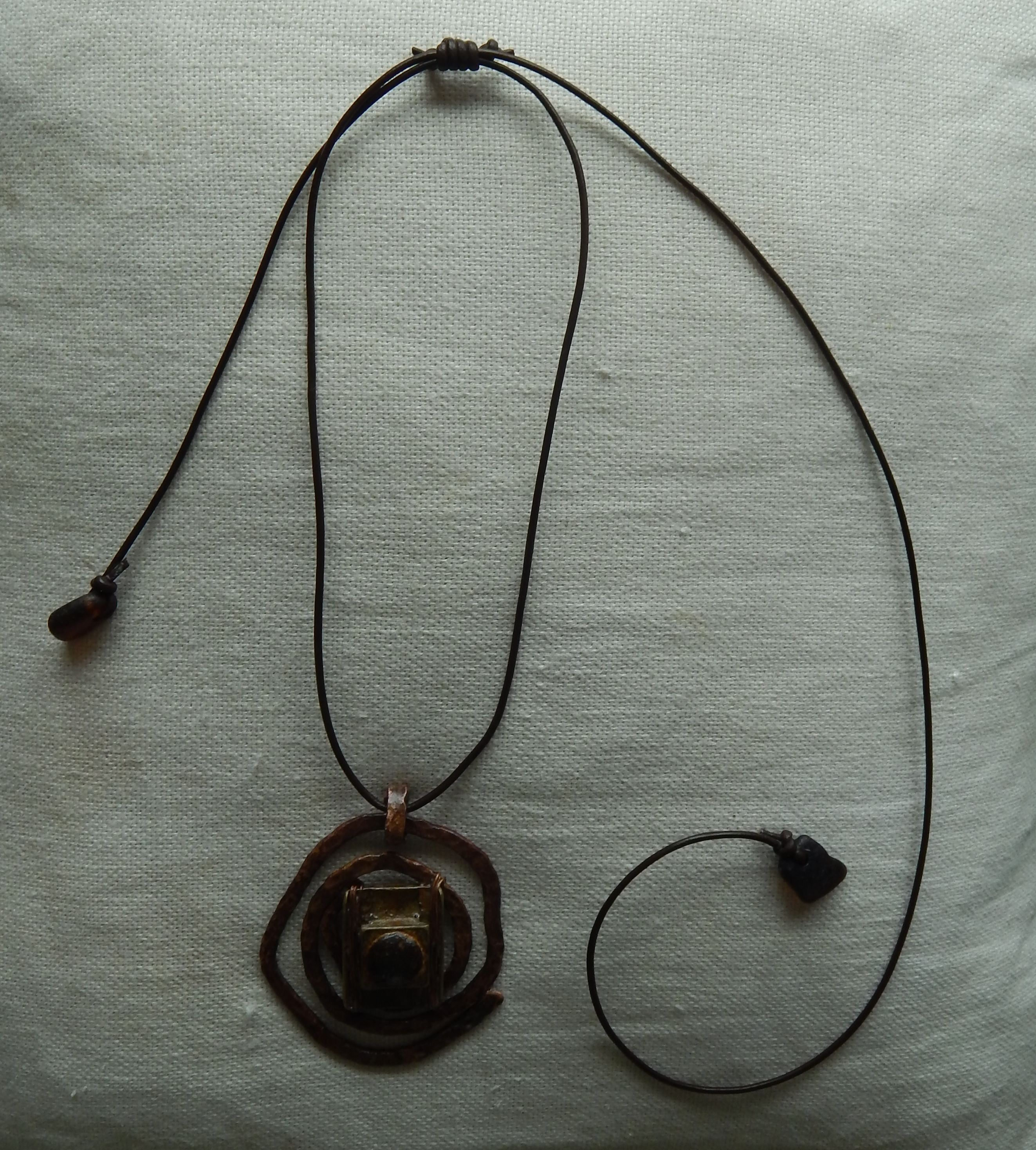 wrapped pendant pin wire heart copper