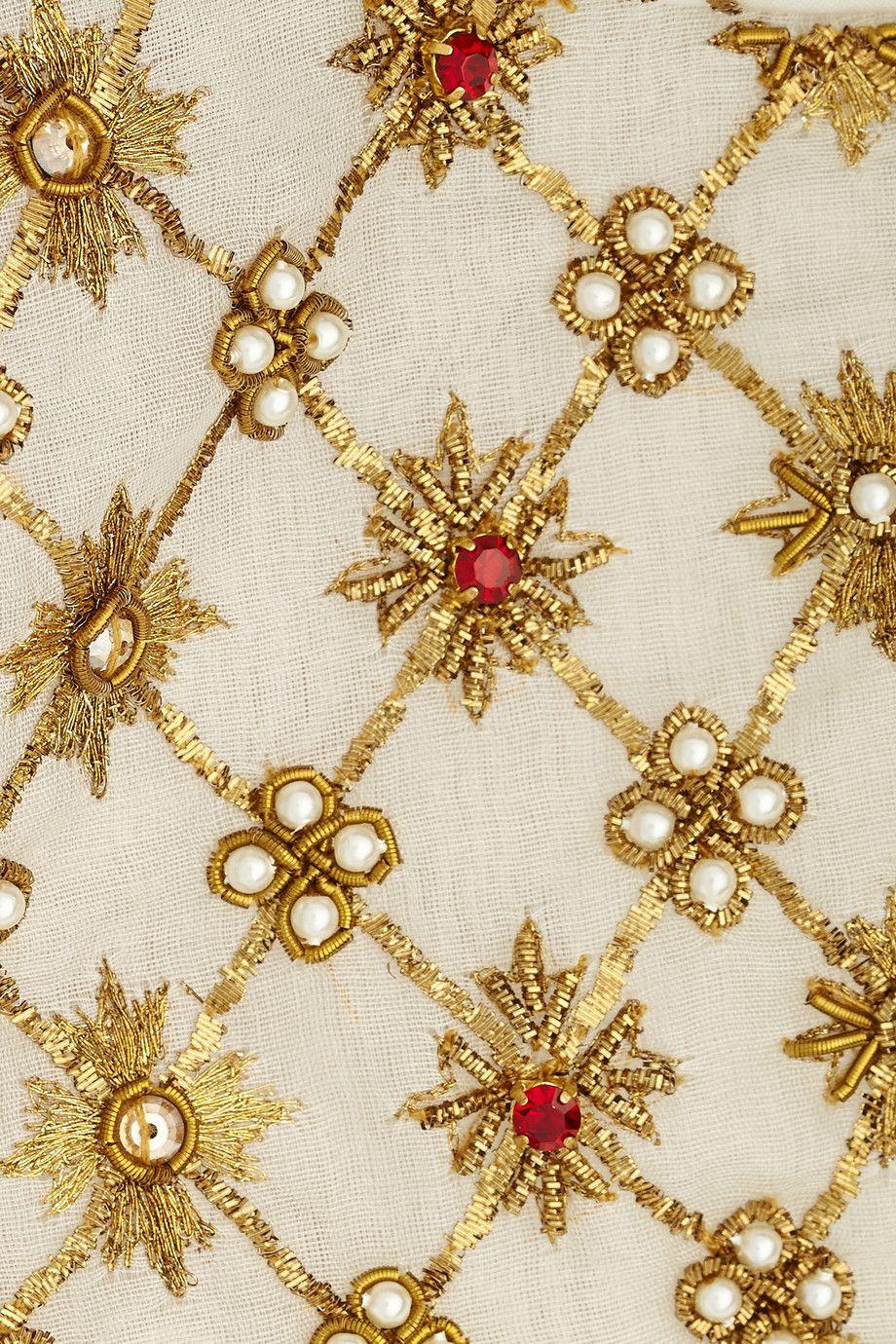 Alexander mcqueen embellished pleated silkorganza blouse