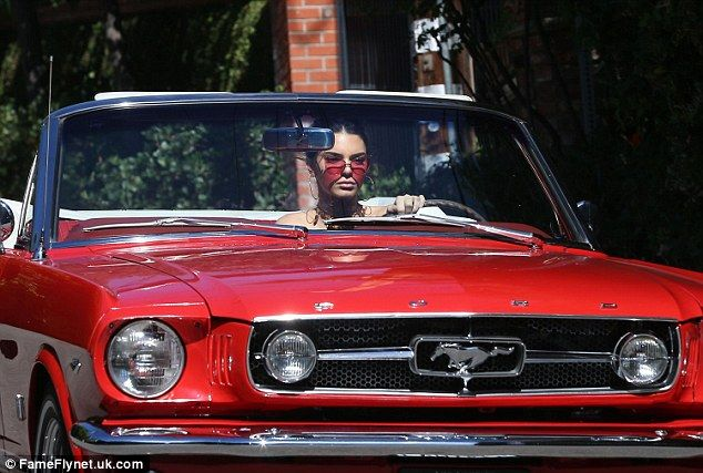 Kendall Jenner Cruises Around La In Her Classic Mustang Red Car