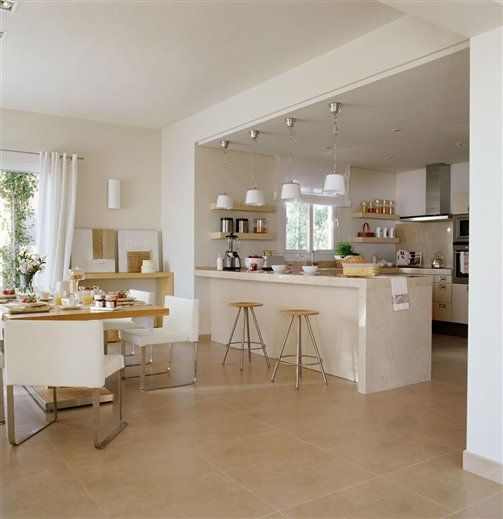 Cocinas abiertas al sal n metro cuadrado en casa y sal n for Comedor 30 metros cuadrados