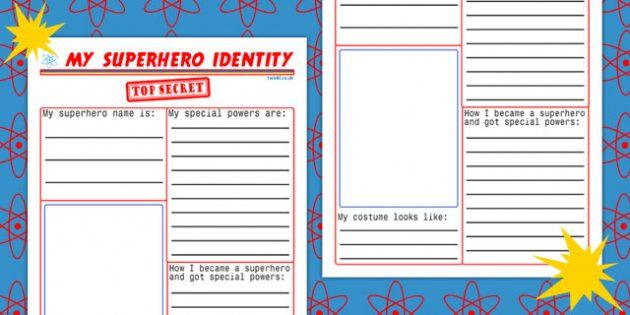 My Superhero Identity Worksheet Superhero Lesson Plans My Superhero Superhero Lessons
