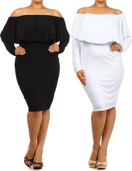 off the shoulder plus size dresses