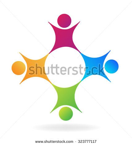Vector logo union teamwork concept of community,business, education,workers,happy children,unity,social networking logotype icon image template
