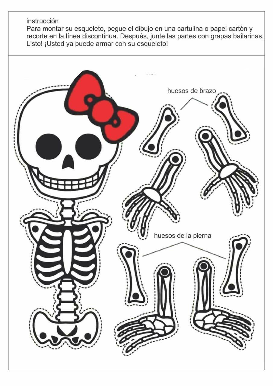 Esqueletos Recortables Dale Detalles Esqueleto Para Armar Cosas De Halloween Halloween Ninos Manualidades