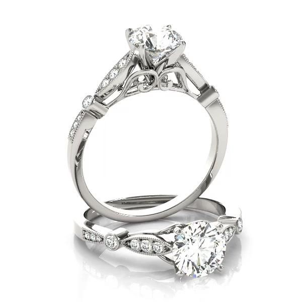 Marquise & Dot Diamond Vintage Engagement Ring 14k