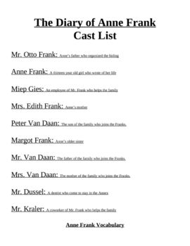 the diary of anne frank unit handouts  high school english  anne  cast list for play essay questions vocabulary lists and vocabulary  activities