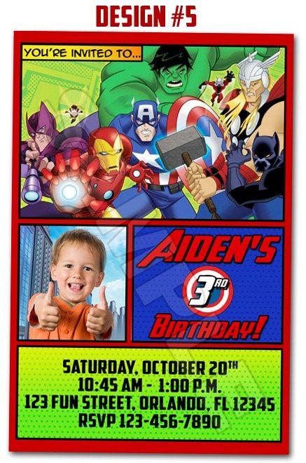 Avengers Superheroes Movie Ironman Birthday Party Photo – Hulk Party Invitations