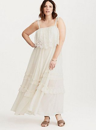 Plus Size Torrid Insider Ruffled Chiffon Lace Maxi Dress Birch Maxi Dress White Maxi Dresses Lace Maxi