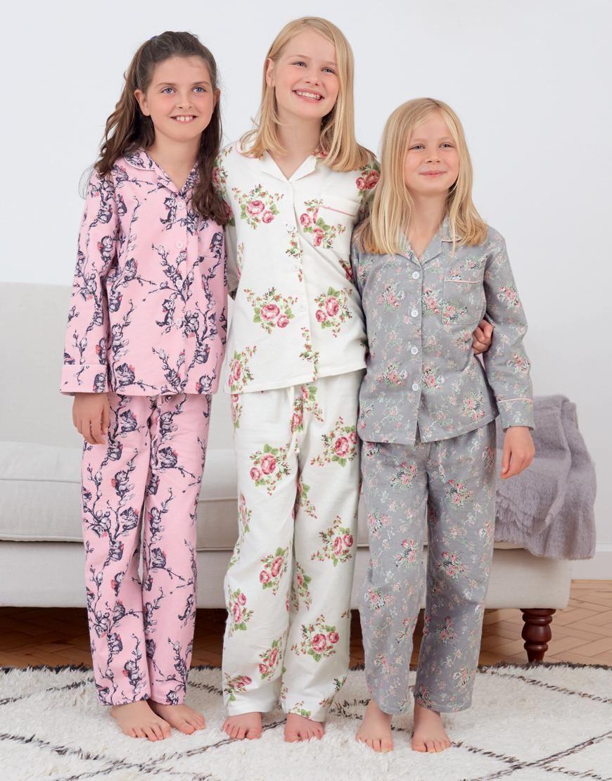 2dc6472eb7 Girls Brushed Cotton Pyjamas - Kids Cotton Pajamas - Nightwear ...