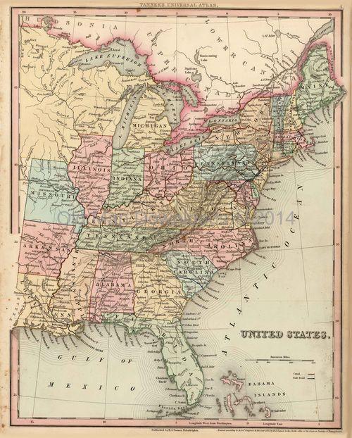 United States Old Map USA Tanner 1836 Digital Image Scan Download