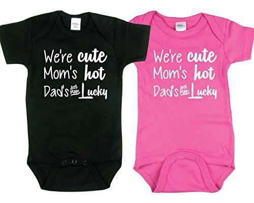 95154c9d Cute Onesies for Twin Boy and Girl, Includes 2 Bodysuits, 6-12 Month Dad is  Lucky Size: 6-12 Month Color: Dad is Lucky Model:  6-12_BG_Black/HotPink_DadLucky ...