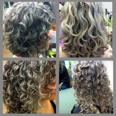 Silver Curly Hair My Hair Will Probably Look Like This Never Known It It To Be So Curly Ever Since I Stopped Hair Styles Grey Curly Hair Curly Hair Styles