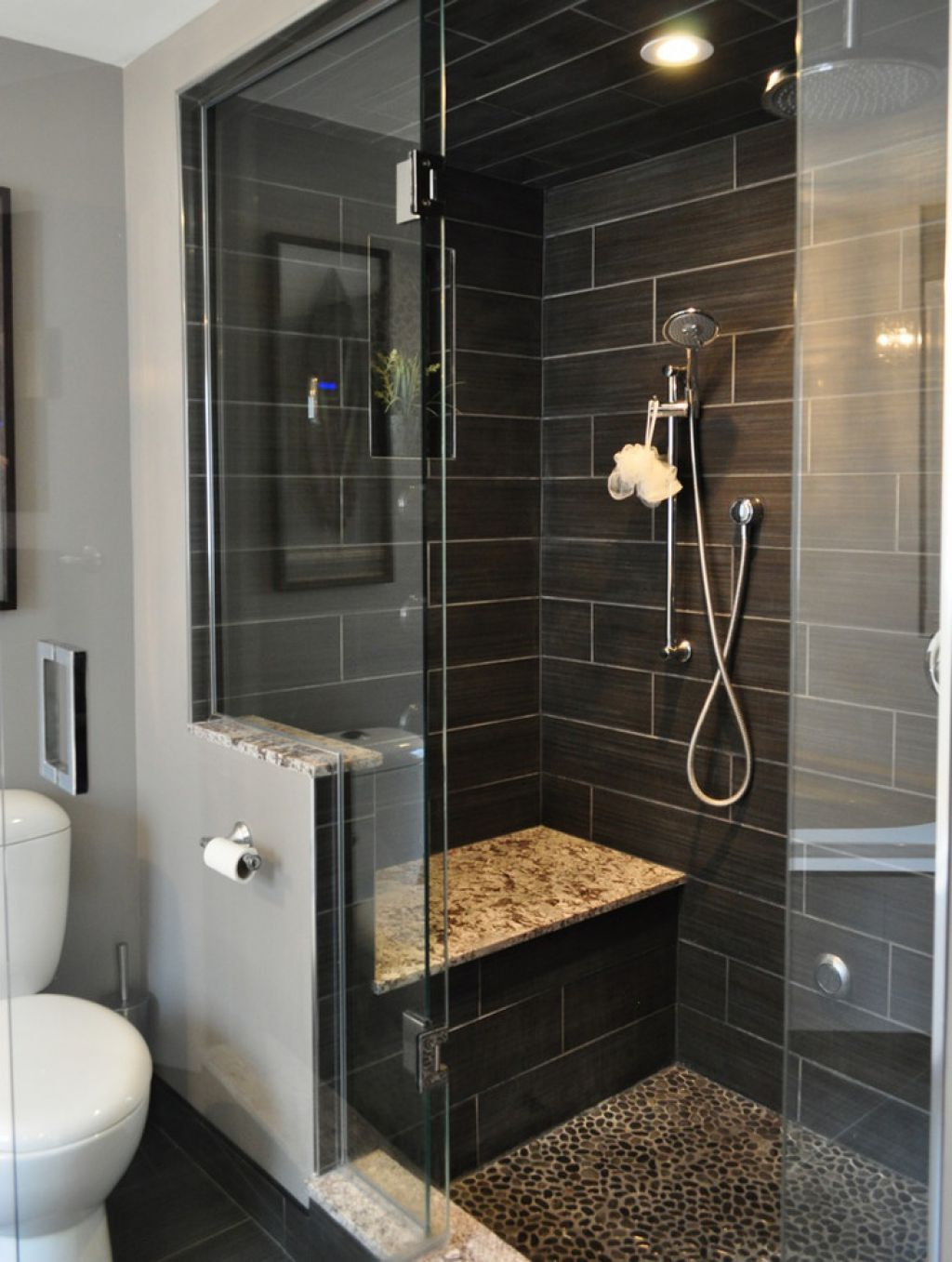 Bathroom Shower Designed With Black Slate Tiles And Built In Bench Bathroom Remodel Master Small Bathroom Remodel Small Master Bathroom