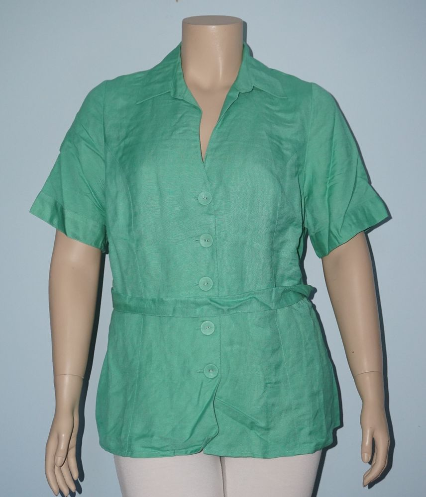 31b5a697 Lane Bryant 18/20 2x Green Short Sleeve Linen Button Down Shirt Top w/ Tie  Belt #LaneBryant #ButtonDownShirt #Casual